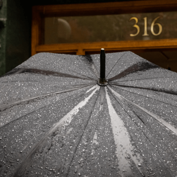 Wet black umbrella